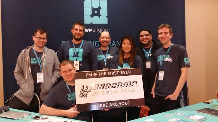 WP Engine employees pose for a photo at WordCamp San Antonio. Courtesy photo.