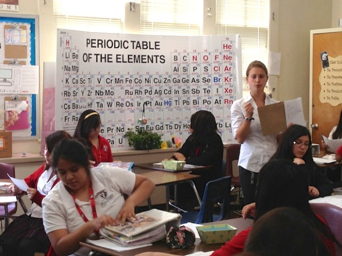 Teacher Nina Slote shapes young scientific minds at Young Women's Leadership Academy. Photo by Bekah McNeel.