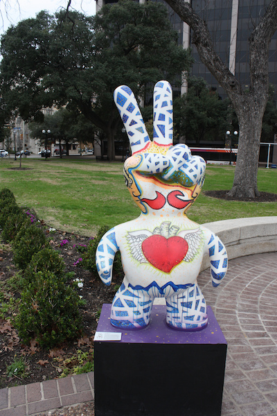 Sculpture in Travis Park by Tony Hernandez. Photo by Kay Richter.