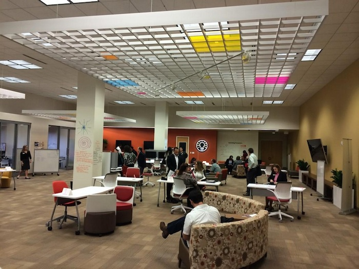 Work space inside Café Commerce, located in the Central Library. Courtesy photo.