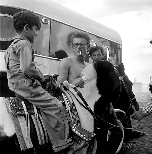 """Behind the scenes with James Dean on location for the film """"Giant"""" in Marfa, Texas in 1955. Courtesy photo."""