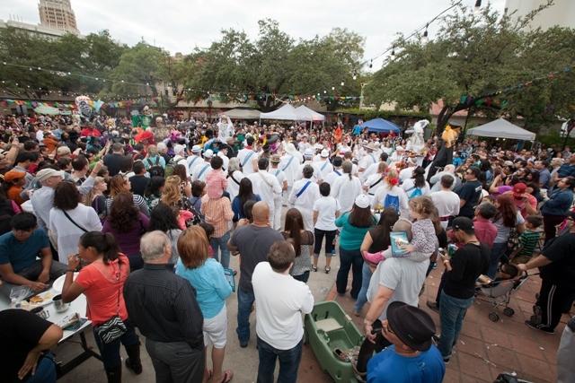 A packed La Villita celebrates Día de los Muertos. Photo courtesy of the City of San Antonio.