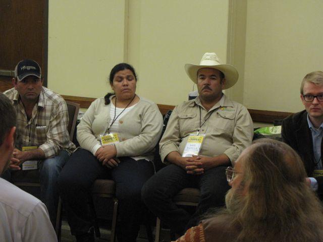 Organic farmers Diana Garcia-Padilla and Saul Padilla attend the Texas Organic Farmers and Gardeners Association conference in San Antonio. Photo courtesy of Joel Morton/Farm Aid.