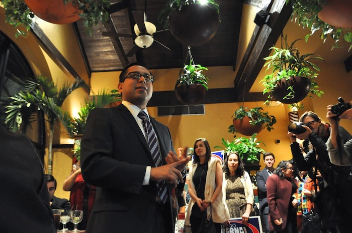 Rep. Diego Bernal thanks supporters that gathered at Los Barrios restaurant during his election watch party. Photo by Iris Dimmick.
