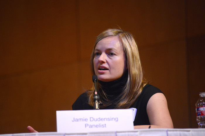 Jamie Dudensing, CEO of the Texas Association of Health Plans speaks on a panel during Trinity University's REACH Symposium. Photo courtesy Parish Photography.