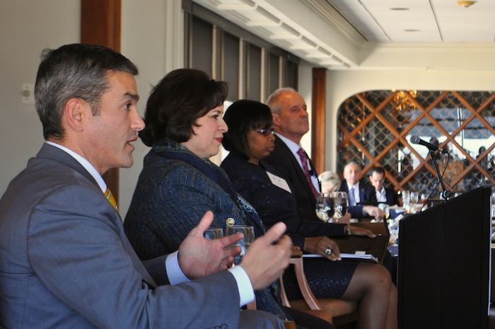 (From left) Mike Villarreal, Sen. Leticia Van de Putte, Mayor Ivy Taylor, and Tommy Adkisson participate in the mayoral candidate forum at the Plaza Club on Wednesday. Photo by Iris Dimmick.