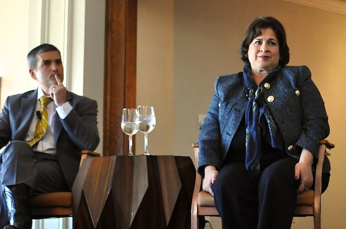 Leticia Van de Putte listens to an audience member's question during the mayoral forum at the Plaza Club on Wednesday. Photo by Iris Dimmick.