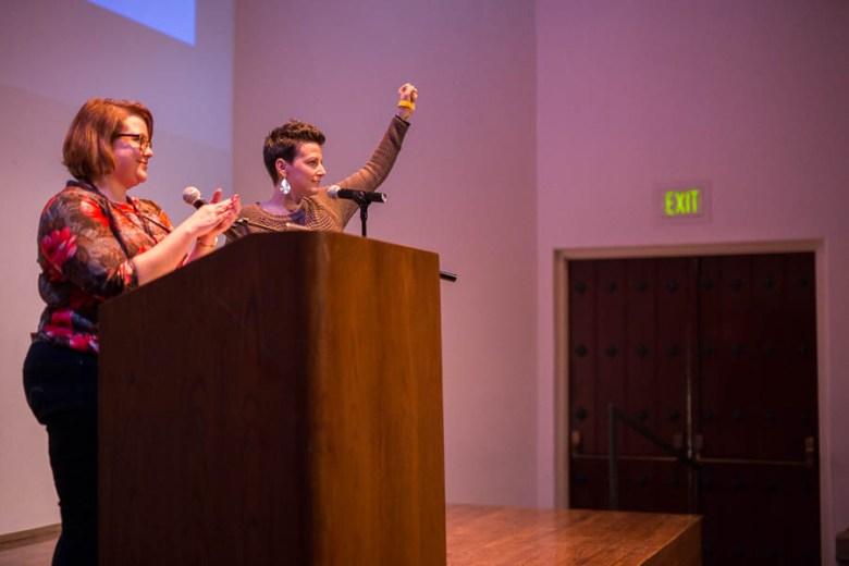 Sarah Fisch and Molly Cox at PechaKucha 17.  Photo by Scott Ball.