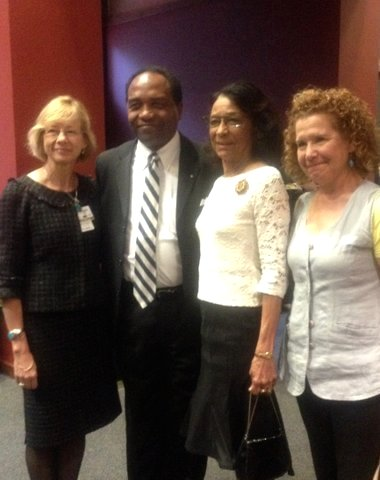 (From left) Dr. Ruth Berggren, director of the Center for Medical Humanities & Ethics at the UT Health Science Center; Dr. Griffin Rodgers, director of the National Institute of Diabetes and Digestive and Kidney Diseases; Gloria Bryant, wife of the late Dr. Frank Bryant Jr. for whom the lecture was named; and Dr. Adelita Cantu, assistant professor in the UT Health Science Center School of Nursing and president of the Community Leadership Board of the American Diabetes Association's San Antonio chapter. Photo by Lily Casura.