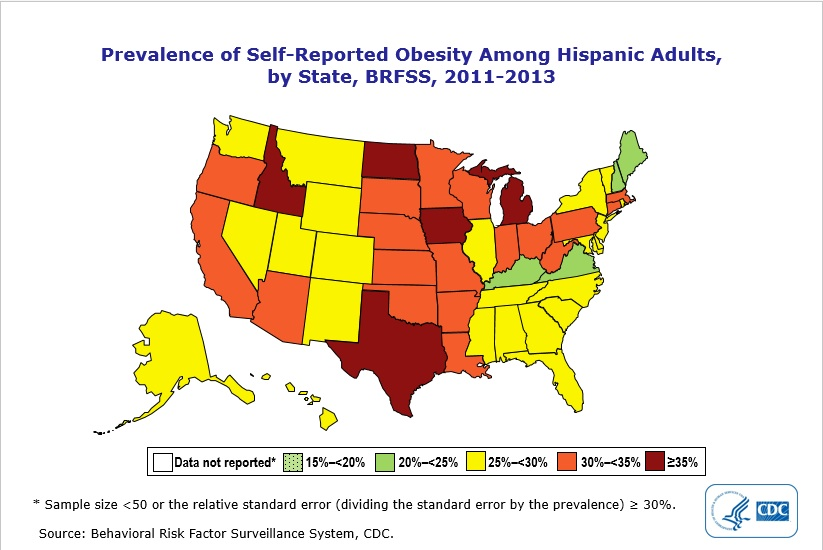 Prevalence of self-reported obesity among Hispanic adults.
