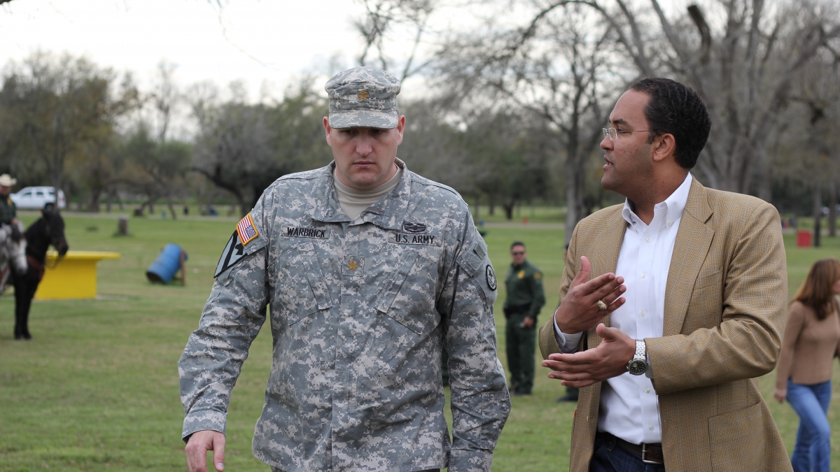 Congressman Will Hurd speaks with a member of the U.S. Military. Courtesy photo.