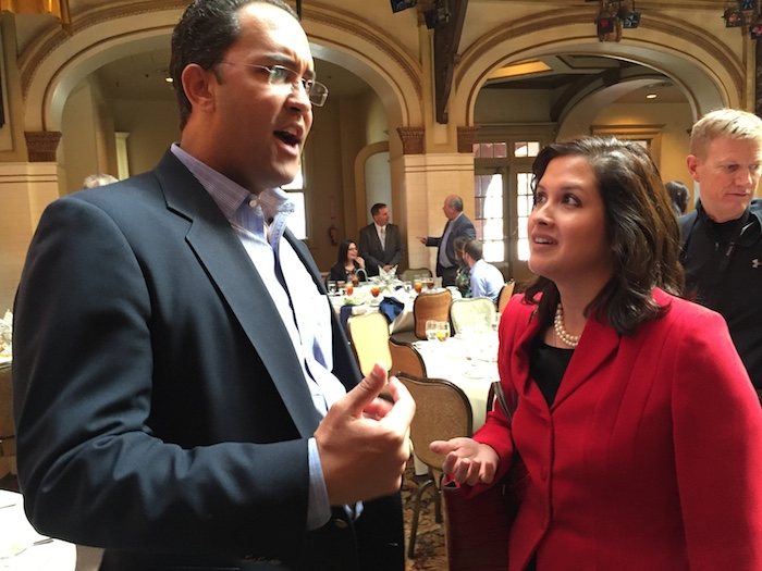 U.S. Rep. Will Hurd talks with SAWS Small, Minority and Woman-owned Business (SMWB) Program Manager Marisol Robles at the SouthSA Chamber luncheon. Photo by Robert Rivard.