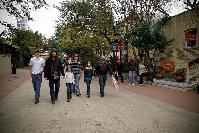 A family walks through La Villita. Photo courtesy of the City of San Antonio.
