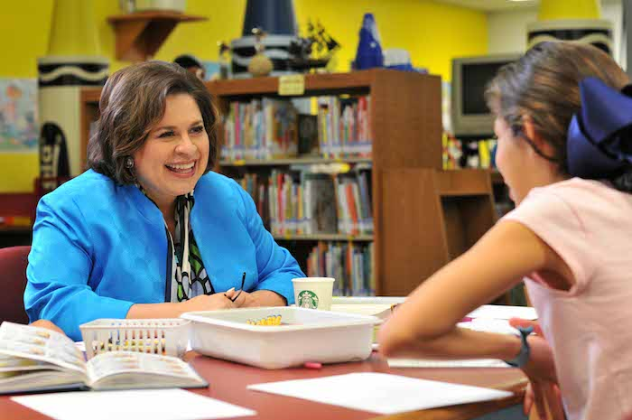 Leticia Van de Putte connects with students during a recent classroom visit. Courtesy photo.