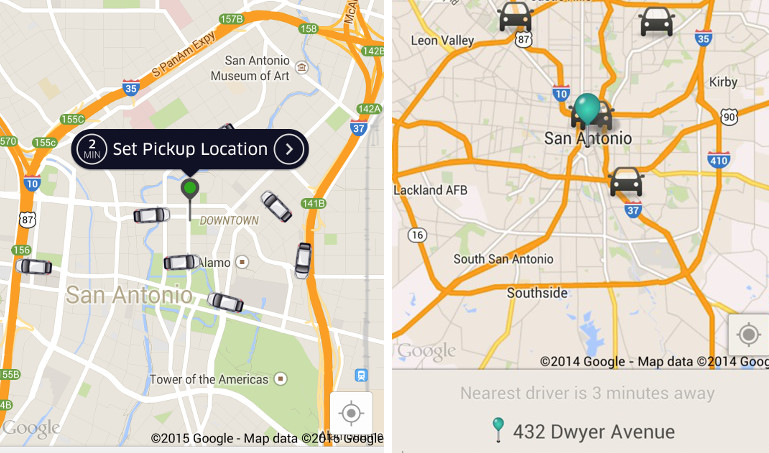Screenshots from the rideshare mobile applications Uber (left) and Lyft (right).