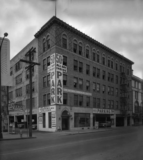 The Ogilvie building in 1959 was a parking garage. Now it's SAHA's Lofts at Marie McGuire. (Zintgraff Studio Photograph collection, MS 355, University of Texas San Antonio Libraries Special Collections from the Institute of Texan Cultures)