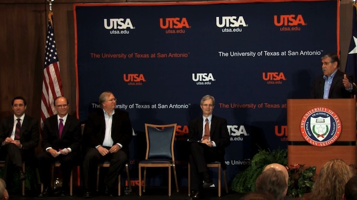 (From left) Texas Comptroller of Public Accounts Glenn Hegar, Rackspace and 80/20 Foundation founder Graham Weston, UTSA Provost John Frederick, and Bexar County Judge Nelson Wolff listen as UTSA Presdient Ricardo Romo launches the Open Cloud Institute. Courtesy image.