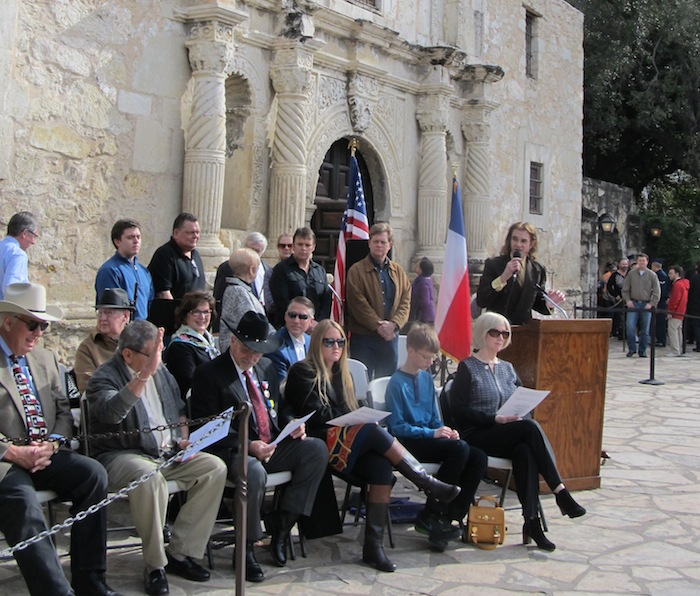 Rick Range, Alamo cannon expert and conservationist, recognizes descendants of Gregorio Esparza who were present. Seated next to podium is San Jacinto Battleground Conservancy president, Jan DeVault. Photo by Carol Baass Sowa for Today's Catholic.