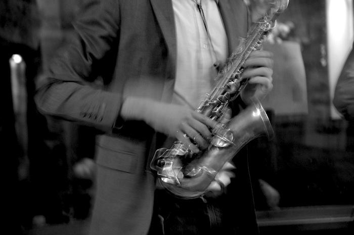 Adam Tutor on the saxophone. Photo by Gretchen Greer.