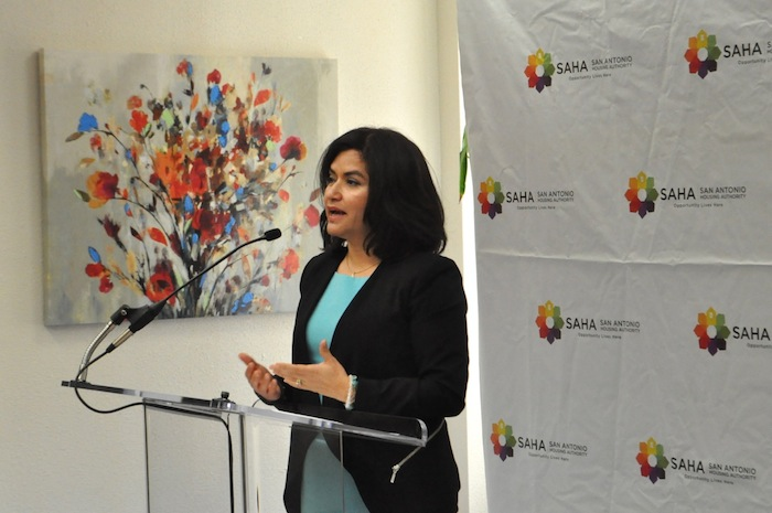 SAHA President and CEO Lourdes Castro Ramírez speaks at the grand opening of SAHA's Lofts at Marie McGuire. Photo by Iris Dimmick.