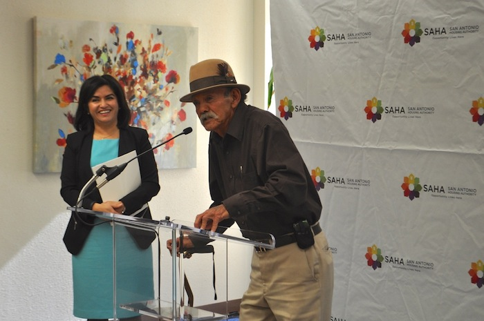 Esmael Suarez speaks at the grand opening of SAHA's Lofts at Marie McGuire. Photo by Iris Dimmick.