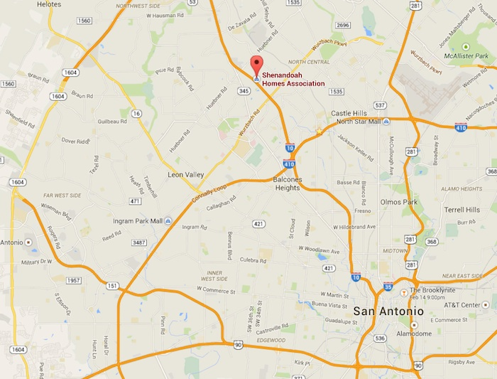 Map of Shenandoah subdivision relative to downtown. Image courtesy of Google Maps.