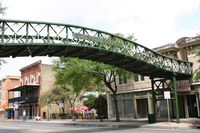 Commerce Street foot bridge at St. Paul's Square. Photo courtesy of the St. Paul's Square Association. http://www.stpaulsquareassoc.org/