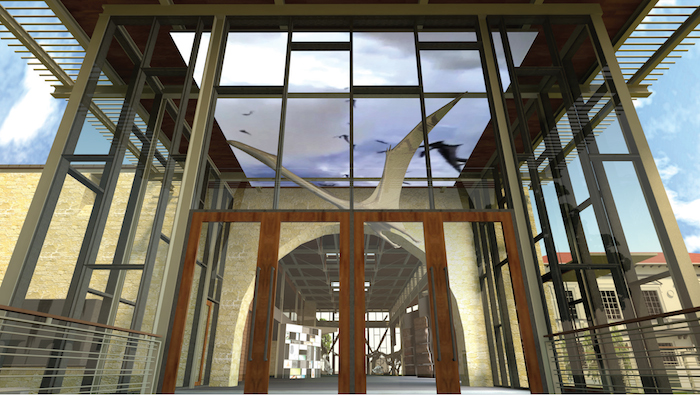 """The H-E-B Lantern entrance and Quetzalcoatlus (""""The Texas Pterosaurs"""") will welcome guests to the Valero Great Hall and Orientation Gallery at the new Witte Museum. Rendering courtesy of Lake/Flato Architects."""