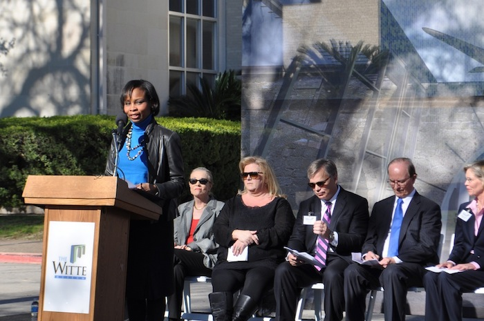 Mayor Ivy Taylor addresses the crowd gathered for the Witte's Phase II groundbreaking. Photo by Iris Dimmick.