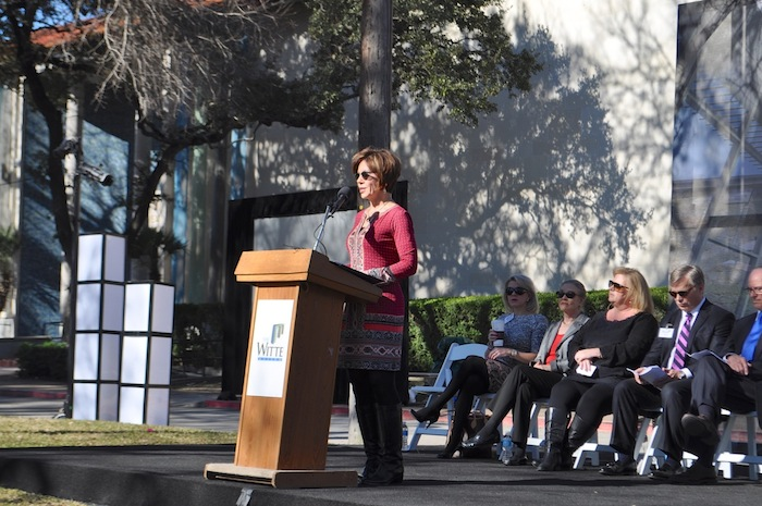 City Manager Sheryl Sculley addresses the crowd gathered for the Witte's Phase II groundbreaking. Photo by Iris Dimmick.