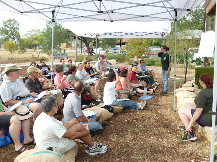 Green Spaces Alliance's Michelle Gorham spoke at the first Permaculture. Work(ing)shop at the Pittman-Sullivan Food Forest in September 2011. Courtesy photo.
