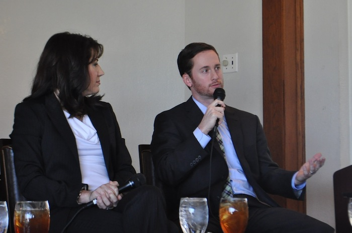 Austin Reynolds, director of Office Asset Management for USAA Real Estate, speaks during the urban core development forum hosted by AIA San Antonio and SMPS. Photo by Iris Dimmick.