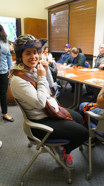 A Street Skills attendee receives a free helmet. Photo by Leroy Alloway.