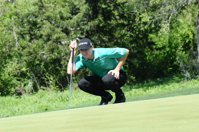 Boerne native looks over a putt during his final round at the 2015 Valero Texas Open. Photo by Kristian Jaime.