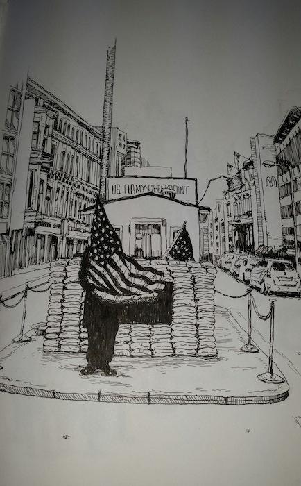 """Checkpoint Charlie"" by Vincent Valdez."