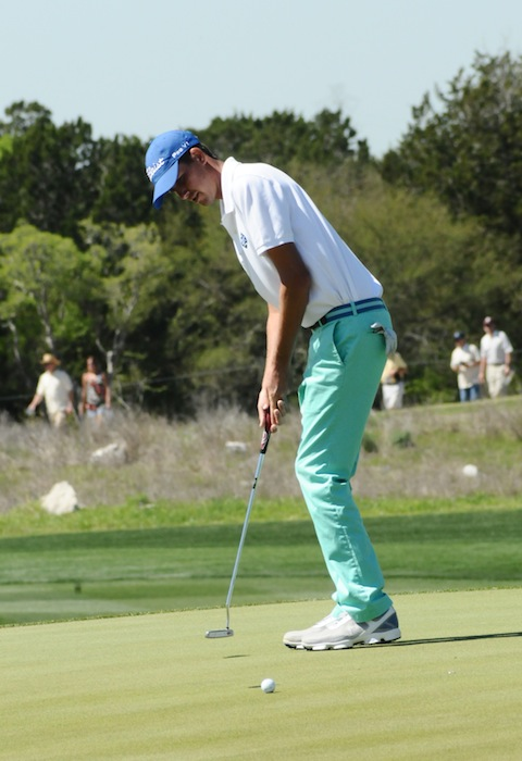 Chesson Hadley putts to stay in the hunts at the 2015 Valero Texas Open at the JW Marriott TPC San Antonio. Photo by Kristian Jaime.