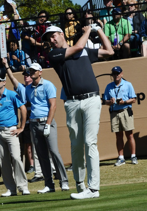 Chris Kirk eyes his tee shot from Tee no. 1 during the final round of the 2015 Valero Texas Open. Photo by Kristian Jaime.