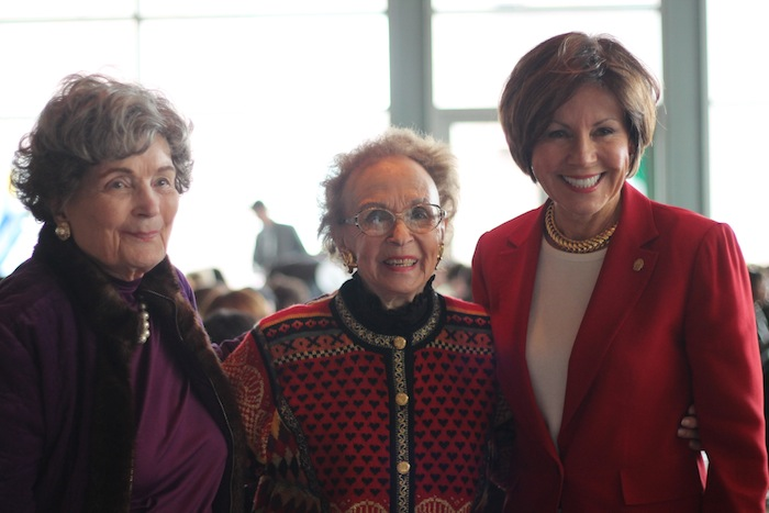 (From left) Former mayor Lila Cockrell, Edith McAllister, and City Manager Sheryl Sculley pose for a photo during the International Women's Day luncheon. Photo by Amanda Lozano.