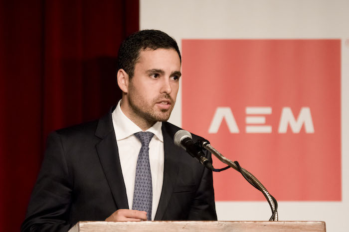 EIM Capital founder and CEO Francisco de la Concha Hamdan speaks at the Mexican Business Leaders Association luncheon on March 16, 2014. Photo by Al Rendon.