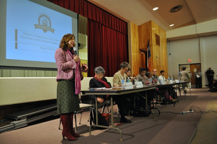 Councilmember Shirley Gonzales (D5) spoke in English and Spanish during the first Gentrification Task Force town hall meeting at Tafolla Middle School. Photo by Iris Dimmick.