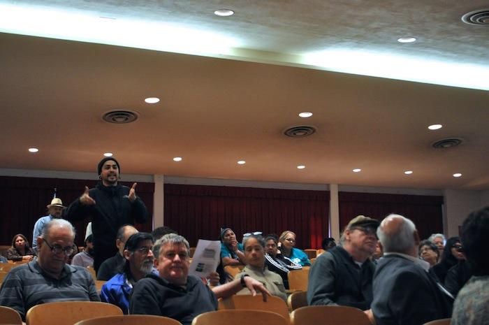 Westside resident Arturo Trejo tells City representatives that Spanish translation will be key to obtaining public input. Photo by Iris Dimmick.