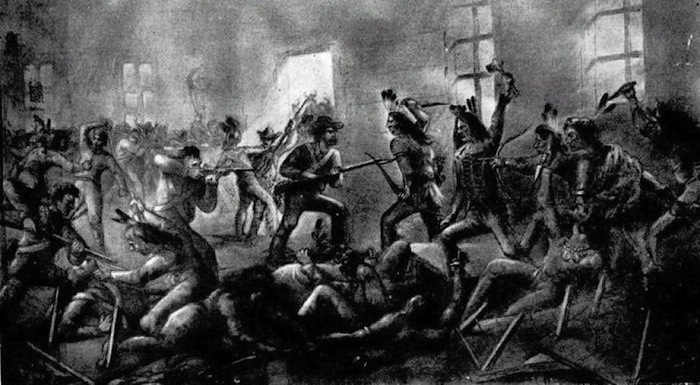 Historic illustration of bloody Council House Fight between Texas settlers and a Comanche delegation. Historical photo.