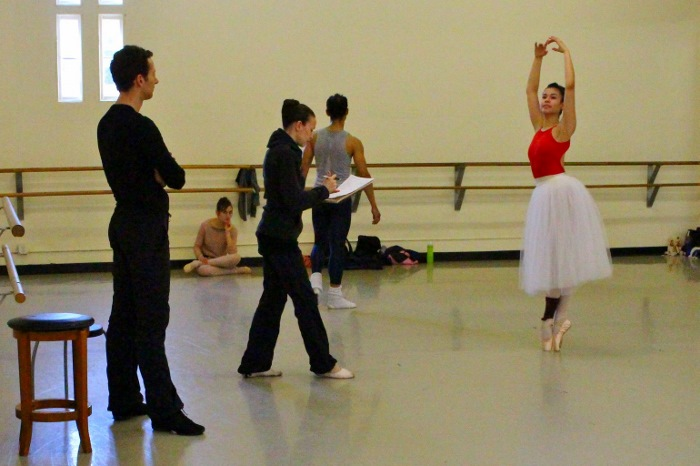 Neal and Fote adjust a position with Crystal Serrano. Photo by Tami Kegley.
