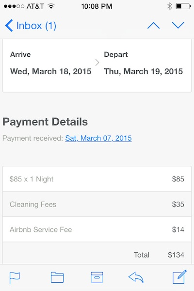 A photo of my payment, including added fees.