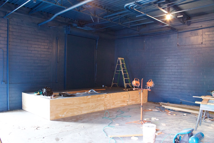 Paper Tiger's small stage room under construction on March 13, 2015. Photo by Hunter Bates.