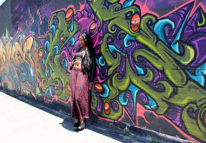 Szagold uses her photography skills to combine street art and fashion. Photo by Szagold.Szagold uses her photography skills to combine street art and fashion. Photo by Szagold.