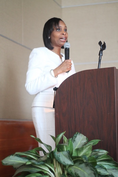 Mayor Ivy Taylor was a keynote speaker the Mayor's Commission on the Status of Women luncheon. Photo by Amanda Lozano.