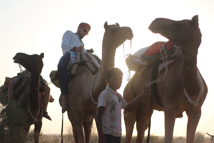 During a camel ride in the Thar Desert. Photo by Joan Vinson.