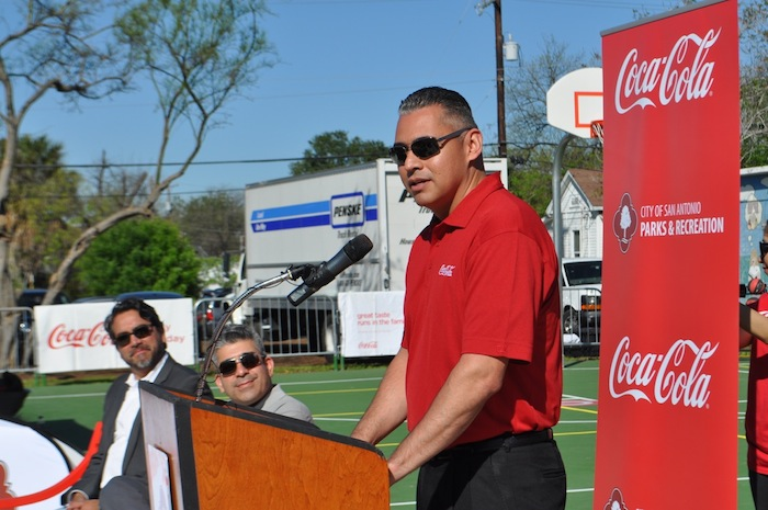 David Salazar, vice president of Coca-Cola Refreshments, during the Labor Street Park grand opening. Photo by Iris Dimmick.