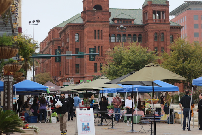 The Main Plaza Farmers Market in downtown San Antonio reopened on Tuesday, just in time for the spring season. Photo by Joan Vinson.
